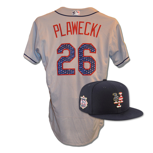 Photo of Kevin Plawecki #26 - Game Used 4th of July Jersey and Hat - Plawecki Goes 1-3, 2 Runs Scored, 1 Walk - Mets vs. Blue Jays - 7/4/18
