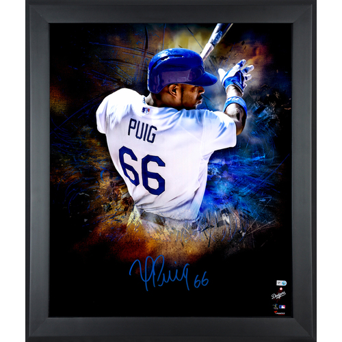 Photo of Yasiel Puig Los Angeles Dodgers Framed Autographed 20'' x 24'' In Focus Photo