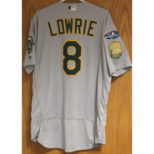 Photo of Game-Used Jed Lowrie 2018 Jersey; HR #22