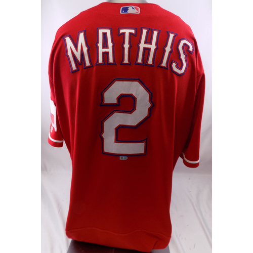 Photo of Red Game-Used Jersey - Jeff Mathis - 3/30/19