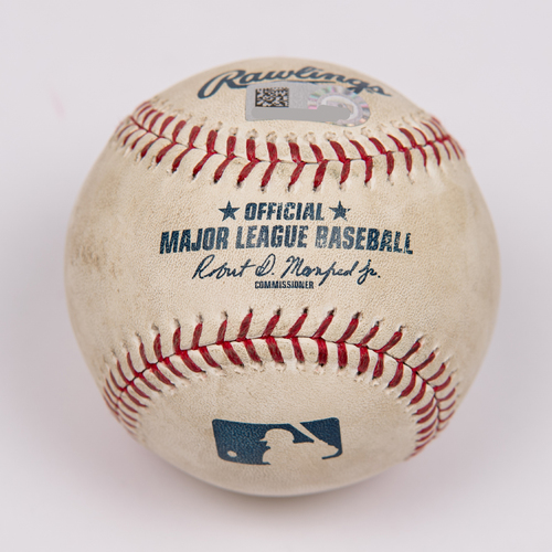Photo of Game-Used Baseball: Pitcher: Chris Bassitt, Batter: Mike Trout (Single) - Bot 6 - 6/30/19 vs. OAK