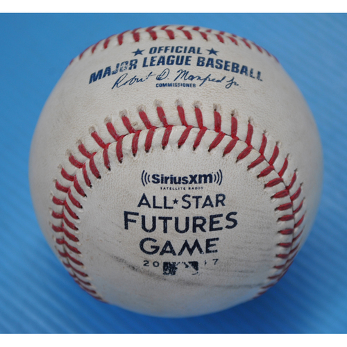 Photo of Game-Used Baseball - 2017 All-Star Futures Game - Pitcher: Brent Honeywell, Batter: Alex Verdugo - 1st Inning - Foul Tip