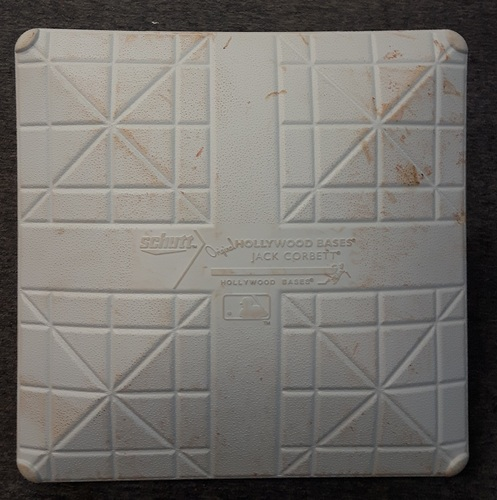 Photo of Authenticated Game Used Base - 3rd Base for Innings 6-9: TB at TOR (Sept. 25, 2015). Donaldson with 40th HR of season and R.A. Dickey's 100th career win. Clinched 1st postseason berth in 22 years.