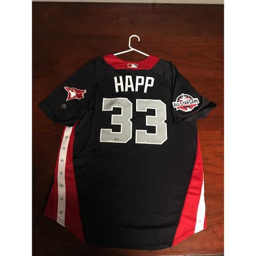 Photo of J.A. Happ 2018 Major League Baseball Workout Day Autographed Jersey