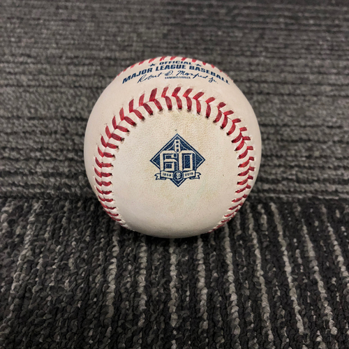 Photo of 2018 San Francisco Giants Game Used Baseball - SF vs. ATL on 9/10/18 - T-5: Dereck Rodriguez to Ronald Acuna Jr. - Ball 2 - Ronald Acuna Jr. 2018 National League Rookie of the Year