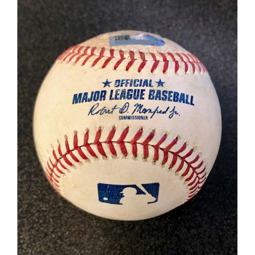Photo of Game Used Baseball: Pitcher: Anthony Swarzak, Batter: Carlos Carrea (Double) - 4-14-2019 vs. HOU