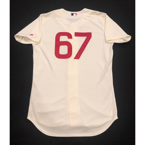 Photo of Matt Bowman -- Game-Used 1936 Throwback Jersey -- Cubs vs. Reds on June 30, 2019 -- Jersey Size 44