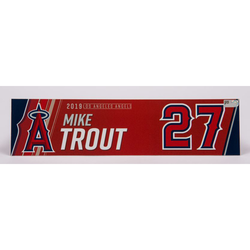 Photo of Mike Trout Game-Used 2019 Locker Tag (6/4/19)