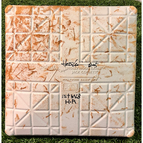 Photo of Game Used Autographed Opening Day Third Base (Innings 4-6): Yoshi Tsutsugo - Inscribed 1st MLB H.R. - July 24, 2020 v TOR