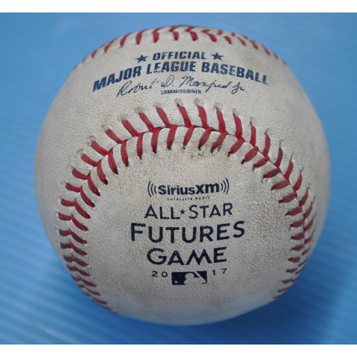 Photo of Game-Used Baseball - 2017 All-Star Futures Game - Pitcher: Tanner Scott, Batter: Ronald Acuna - 1st Inning - 1-0 Pitch