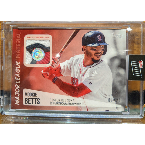 Photo of Topps Mookie Betts 2018 MVP Game Used Jersey Swatch Baseball Card 1/25