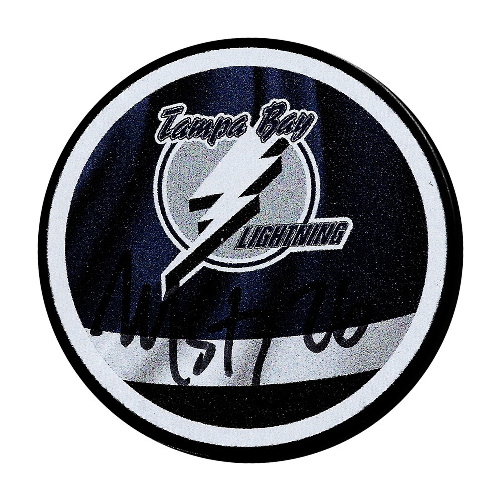 Martin St. Louis Autographed Tampa Bay Lightning Reverse Retro Puck
