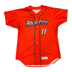 Photo of Game Worn Red Bold City Jersey Lewin Diaz #11 Size 46