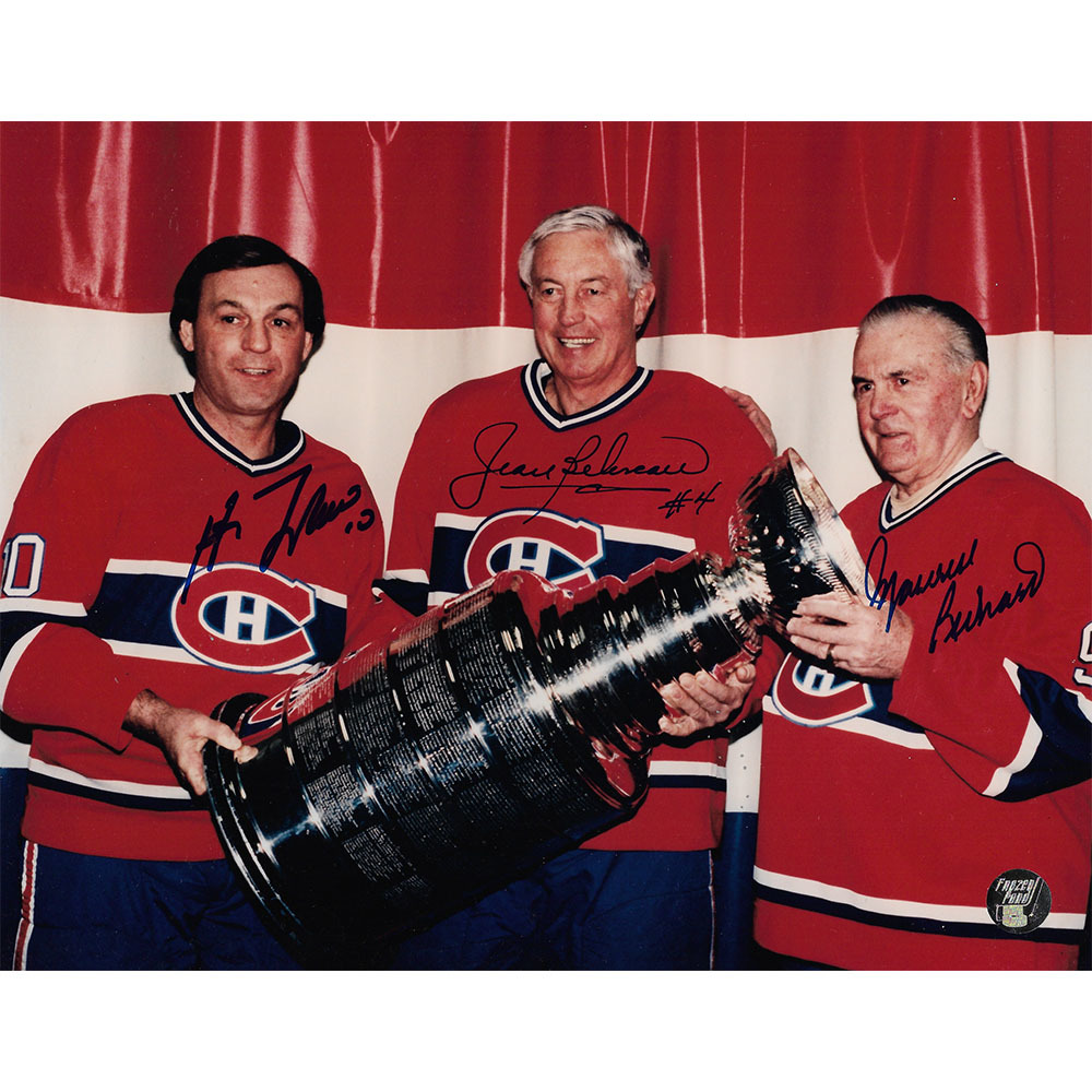 Tri-Habs w/Cup Autographed 8X10 Photo - M. Richard/Beliveau/Lafleur (Montreal Canadiens)