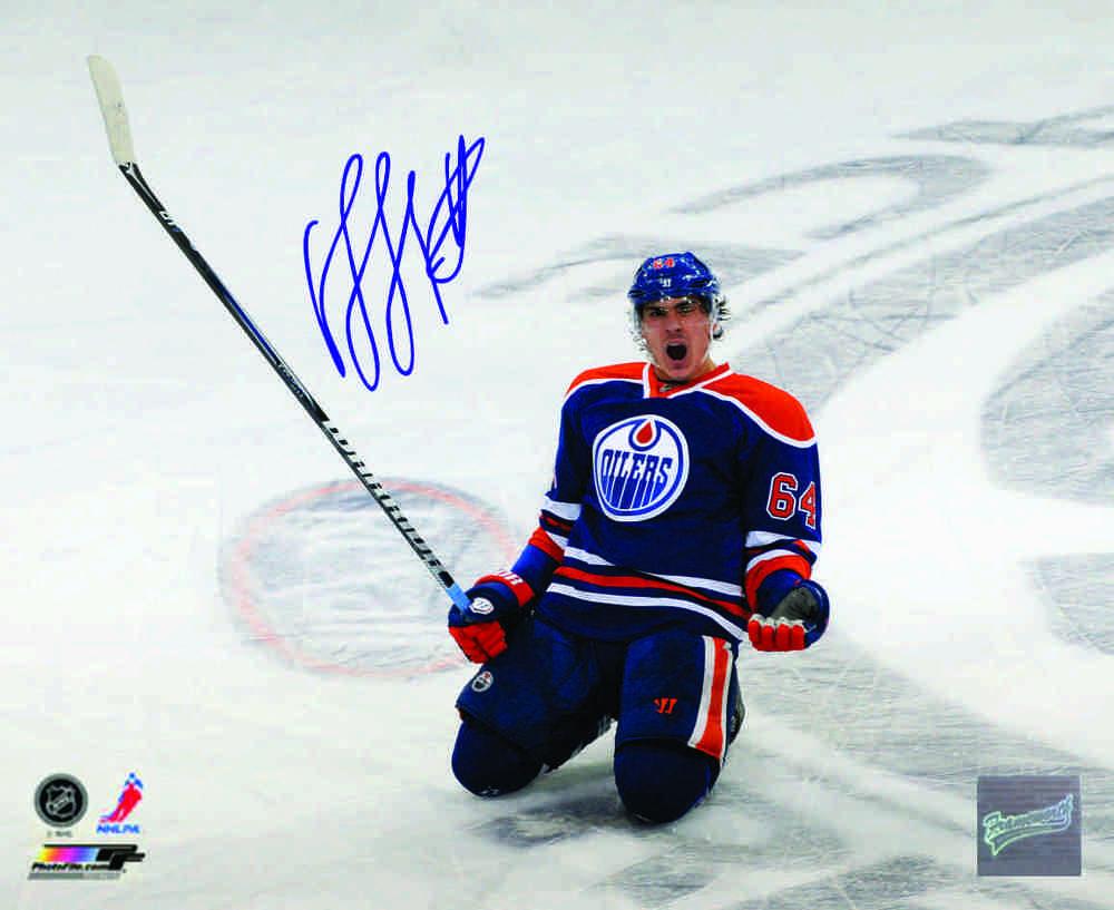 Signed Nail Yakupov 8x10 Edmonton Oilers Sliding Celebration Photo