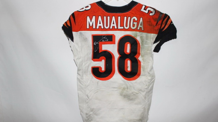 NFL Auction   REY MAUALUGA GAME WORN SIGNED BENGALS JERSEY ...