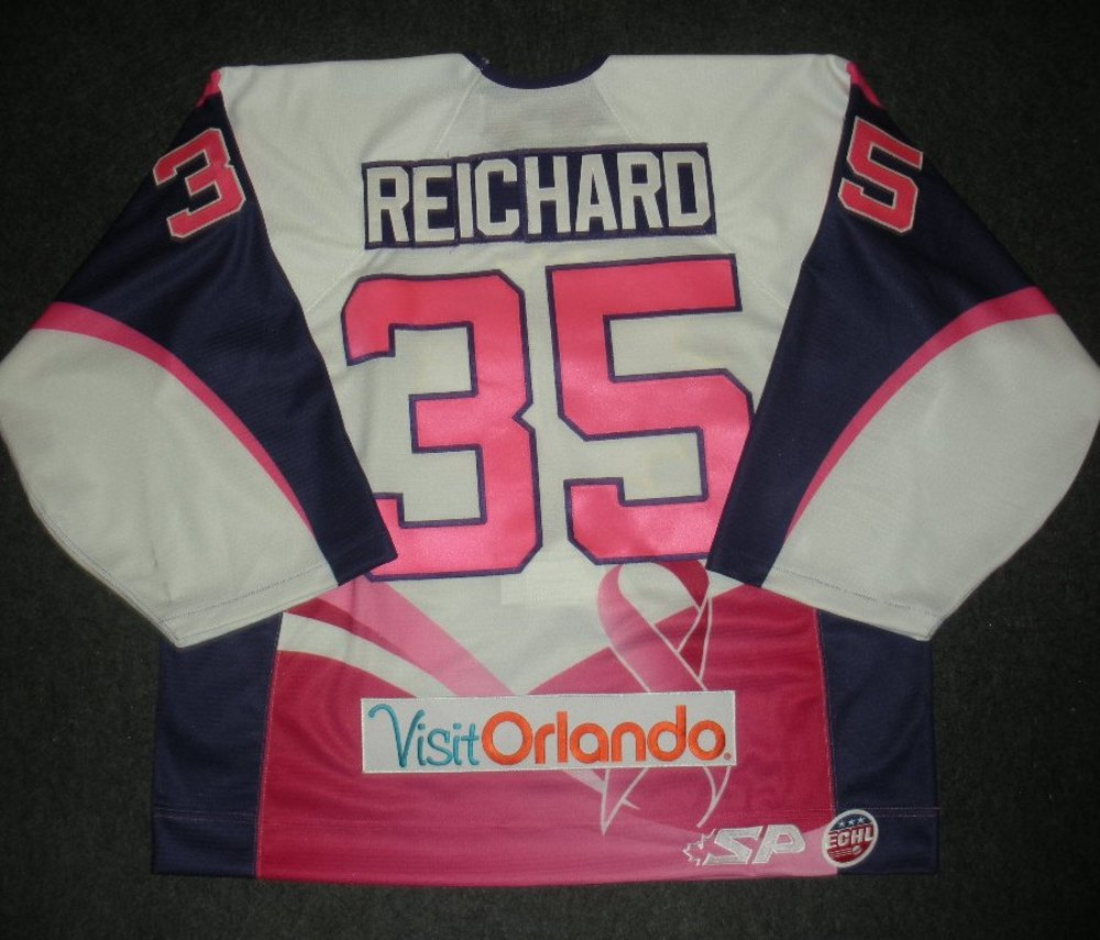 Cody Reichard - Orlando Solar Bears - Hockey Fights Cancer Game-Worn Back-Up Only Jersey