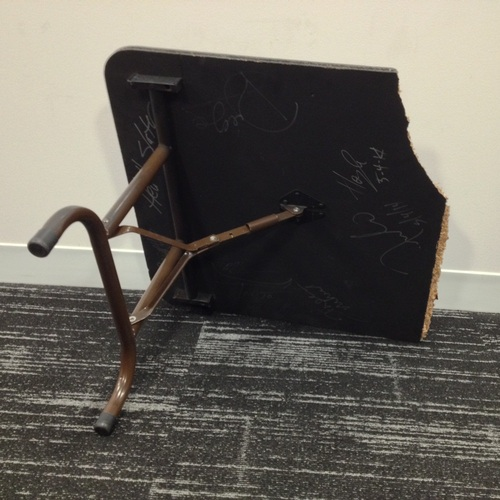 Piece of used broken mini table signed by 3MB, Hornswoggle, Los Matadores & El Torito (From Extreme Rules - 05/04/14)