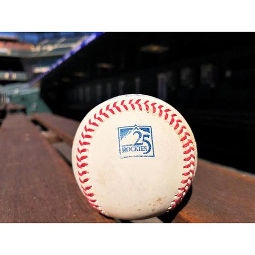 Photo of Colorado Rockies Game-Used Baseball - Beck v. Gonzalez - Single to Nimmo - June 19, 2018