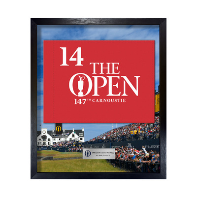 Photo of The 147th Open On-course Pin Flag, 14th Hole, Round 3 Framed
