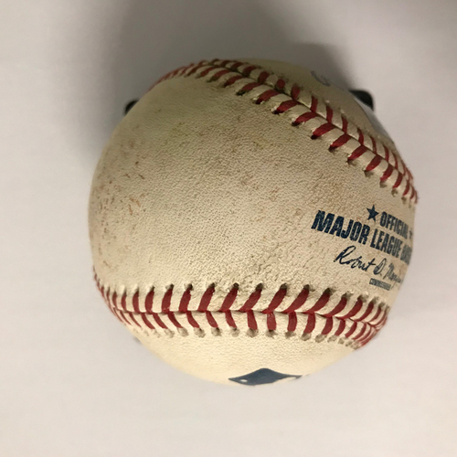Photo of Freddie Freeman Game Used Hit Triple Baseball - 8/30/18 - 2018 NL Gold Glove Winner