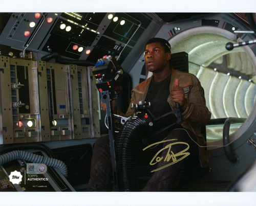 John Boyega as Finn 8x10 Autographed in Gold Ink Photo in the Gunner Position on the Millennium Falcon