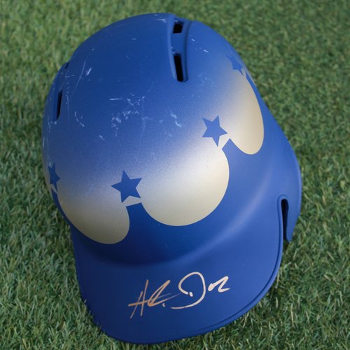 Photo of Team-Issued and Autographed Turn Ahead the Clock Batting Helmet: Hunter Dozier (Size - 7 3/8)