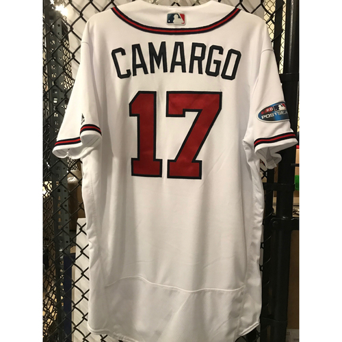 Photo of Johan Camargo Game-Used 2018 NLDS Jersey - Worn 10/7/18 - First Postseason Game at SunTrust Park