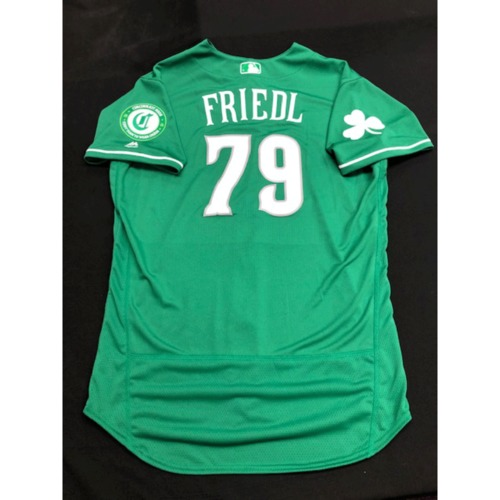 Photo of TJ Friedl -- Team-Issued Jersey -- 2019 St. Patrick's Day