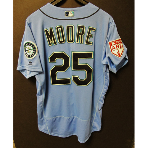 Photo of Dylan Moore Game Used Light Blue Spring Training Jersey 2019  Exhibition Game - SD @ SEA 3-26-2019
