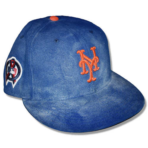 Photo of Steven Matz #32 - Game Used Blue Hat - 6 IP, 0 ER, 7 K's, Earns 10th Win of 2019 - Mets vs. Diamondbacks - 9/11/2019