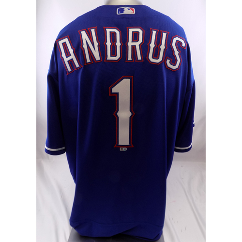Photo of Blue Team-Issued Jersey - Elvis Andrus - 10/8/19