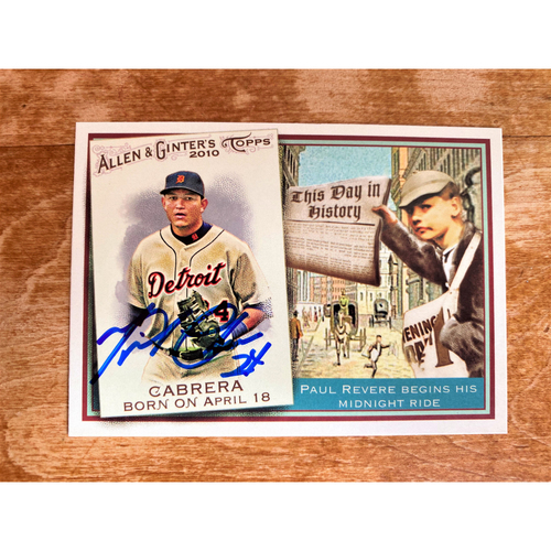 Photo of Miguel Cabrera Autographed Detroit Tigers 2010 Allen & Ginter's Baseball Card (NOT MLB AUTHENTICATED)