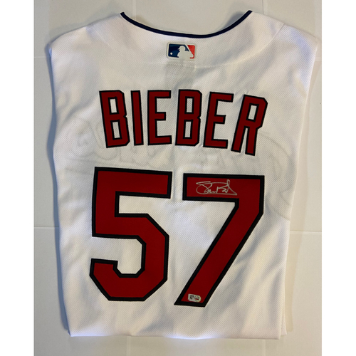 Photo of Shane Bieber Autographed Authentic Indians Jersey