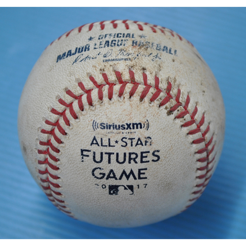 Photo of Game-Used Baseball - 2017 All-Star Futures Game - Pitcher: Jack Flaherty, Batter: Francisco Mejia - 6th Inning - Foul Tip