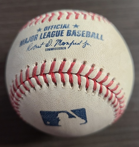 Photo of Authenticated Game Used Baseball: Foul by Michael Conforto against Chase Anderson (Sep 11, 20 vs NYM). Top 3. Game played in Buffalo.