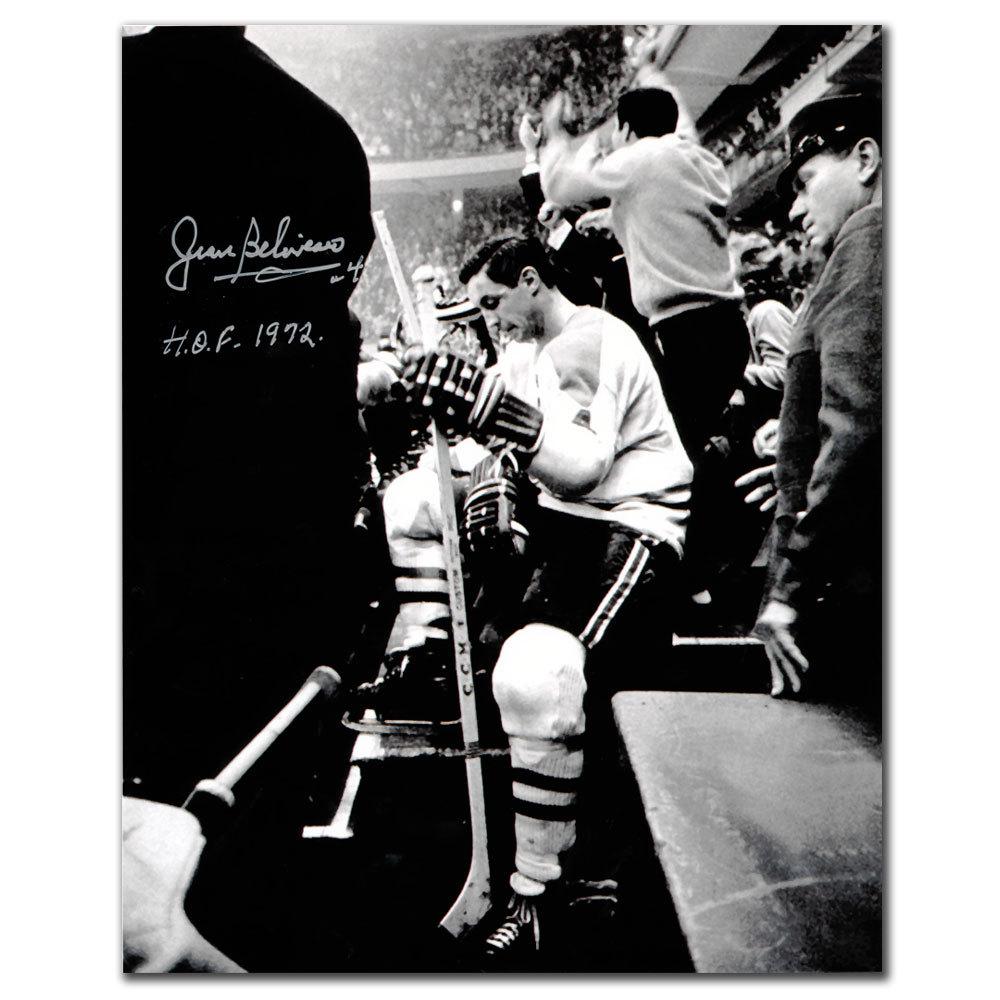 Jean Beliveau Montreal Canadiens Bench Autographed 8x10