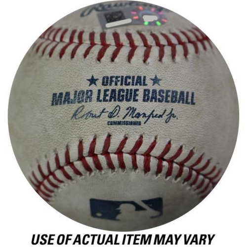 Photo of Astros at Yankees 10/17/2017 ALCS Game-Used Baseball (Bottom 1 - Aaron Judge - 3 - Swinging Strike, Bottom 1 - Aaron Judge - 4 - Swinging Strike, Bottom 1 - Didi Gregorius - 1 - Called Strike, Bottom 1 - Didi Gregorius - 2 - Ball)