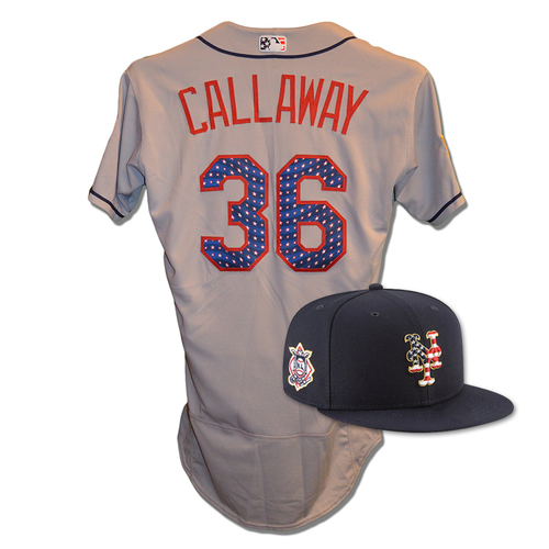 Photo of Mickey Callaway #36 - Game Used 4th of July Jersey and Hat - Mets vs. Blue Jays - 7/4/18