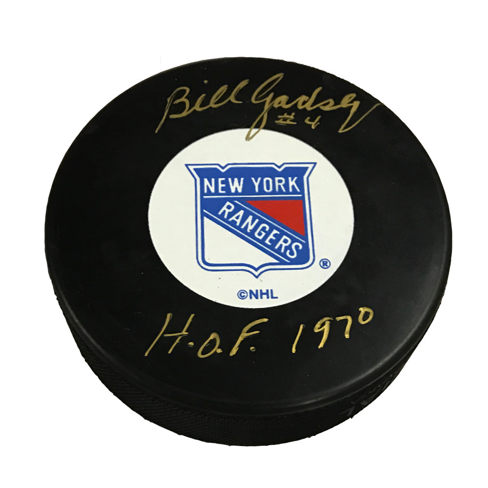 BILL GADSBY Signed New York Rangers Puck with HOF Inscription