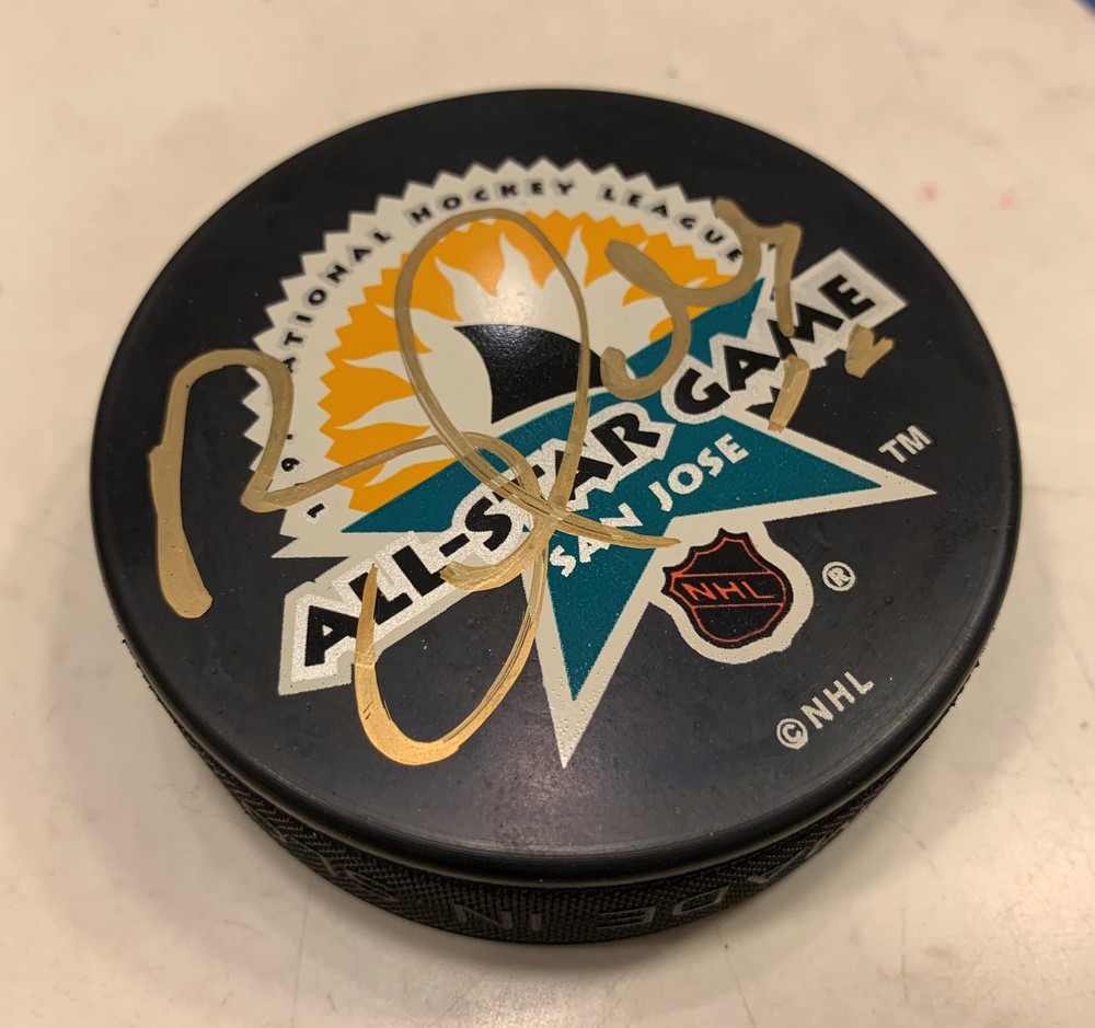 BRETT HULL SAN JOSE 1997 All-Star Game AUTOGRAPH PUCK