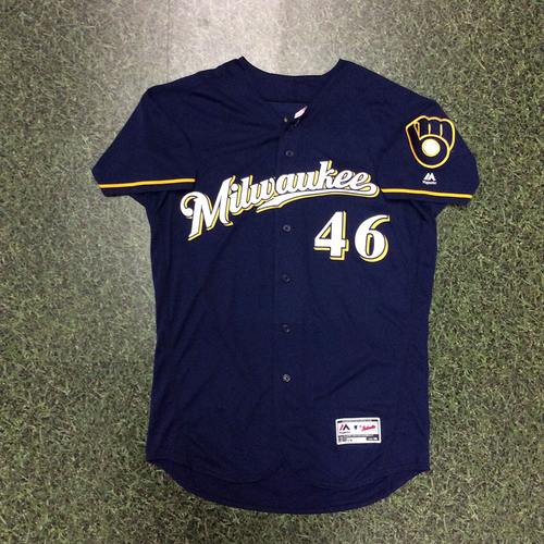 Photo of Corey Knebel 2018 Game-Used Navy Ball & Glove Jersey