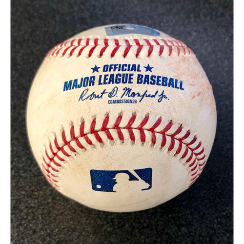 Photo of Game Used Baseball: Pitcher: Marco Gonzales, Batter: Alex Bregman (Single) - 4-14-2019 vs. HOU