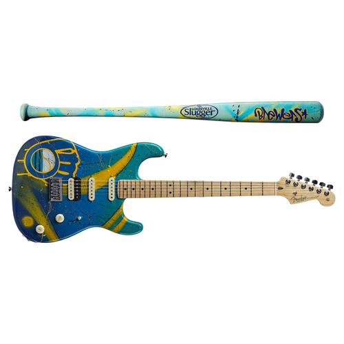 Photo of One-of-a-kind Artist-Painted Brewers Louisville Slugger Bat and Fender Stratocaster Guitar