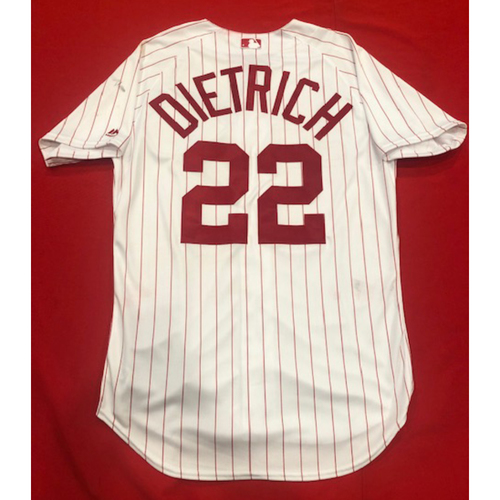 Photo of Derek Dietrich -- 1967 Throwback Jersey -- Game-Used for Rockies vs. Reds on July 28, 2019 -- Jersey Size: 44