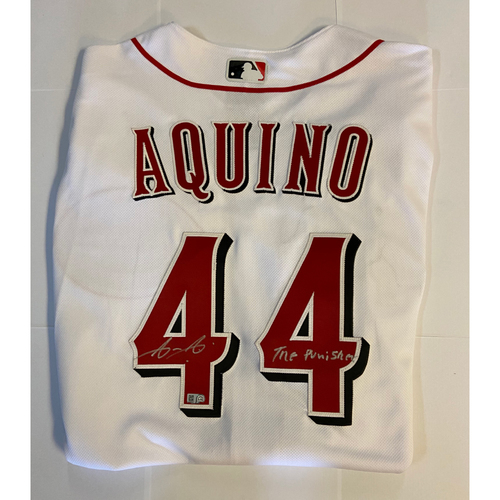 Photo of Aristides Aquino Autographed Authentic Reds Jersey