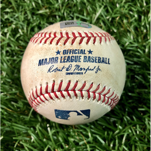 Photo of Game Used Baseball: Vladimir Guerrero Jr. single (ROOKIE SEASON), Freddy Galvis single and Randal Grichuk foul ball off Austin Pruitt - August 5, 2019 v TOR