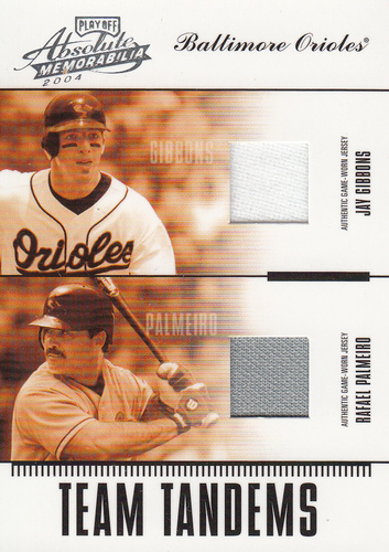 Photo of 2004 Absolute Memorabilia Team Tandem Material #18 Rafael Palmeiro Jsy/Jay Gibbons Jsy