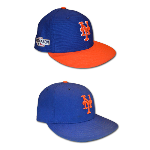 Photo of Alejandro de Aza #16 - Game Used Hat Set - Game Used Blue Hat - Mets Clinch Wild Card Berth - 10/1/16 - Game Used 2016 Postseason Batting Practice Hat - 10/5/16