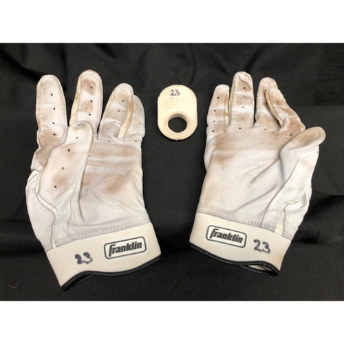 Photo of Adam Duvall Batting Gloves & Vibration Aid -- Team-Issued -- Used During 2017 Season